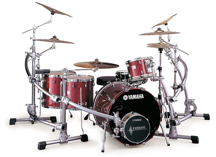 Yamaha Absolute drum set with rack setup
