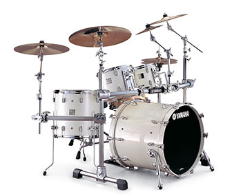 Yamaha Absolute drum set in Luminous White Sparkle finish in a bright room.