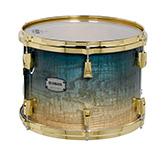 Yamaha PHX burled ash exterior shell in Sapphire Fade finish with gold hardware.