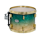 Yamaha PHX burled ash exterior shell in Turquoise Fade finish with gold hardware.