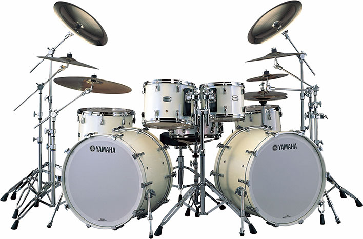 Yamaha PHX maple exterior drum set in Polar White with chrome hardware.