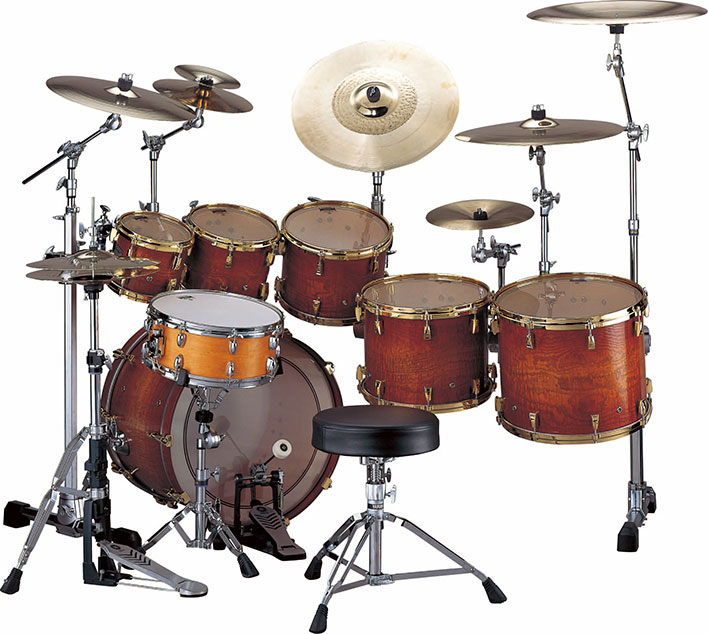 Yamaha PHX burled ash drum set textured amber sunburst with gold hardware.