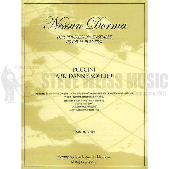 Nessun Dorma Lyrics Sheet Music: Nessun Dorma By Giacomo Puccini Arr. Danny Soulier