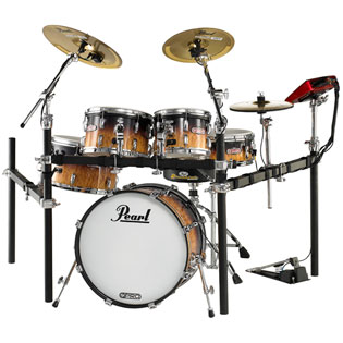 pearl e-pro live electronic drumset with brass cymbals