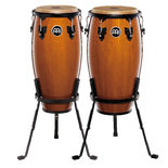 "meinl headliner series wood conga sets with stands and free matching bongos - 11"" and 12"""
