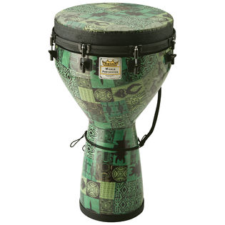 "remo 14"" designer series key-tuned djembe - green kintecloth"