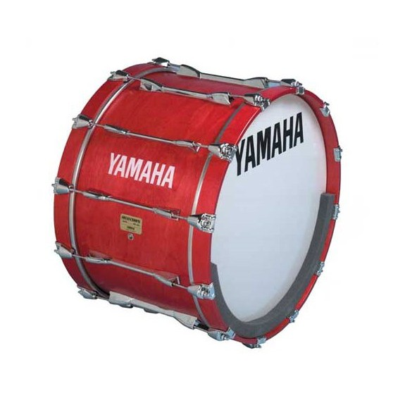 This Smooth White Ambassador Marching Bass Drum Head with Yamaha logo comes